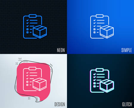 Glitch, Neon effect. Parcel checklist line icon. Logistics check sign. Package control symbol. Trendy flat geometric designs. Vector