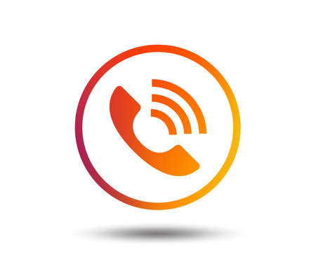 Phone sign icon. Call support center symbol. Communication technology. Blurred gradient design element. Vivid graphic flat icon. Vector