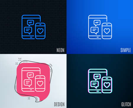 Glitch, Neon effect. Social media messages line icon. Mobile devices sign. Smartphone Love message symbol. Trendy flat geometric designs. Vector
