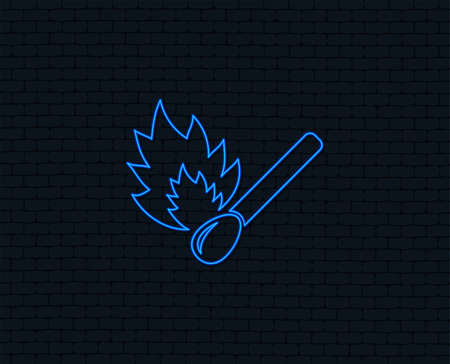Neon light. Match stick burns icon. Burning matchstick sign. Fire symbol. Glowing graphic design. Brick wall. Vector