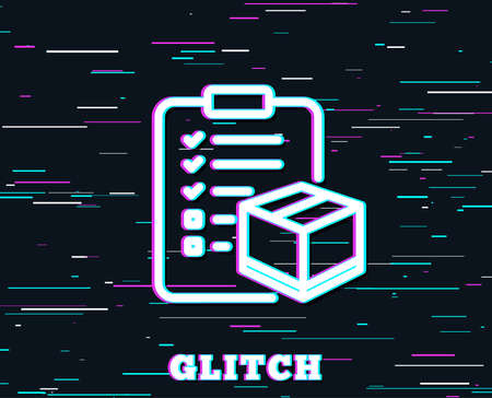 Glitch effect of Parcel checklist line icon.