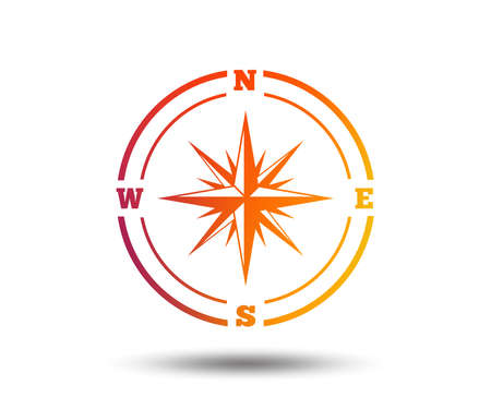 Compass sign icon of  Wind rose navigation symbol.