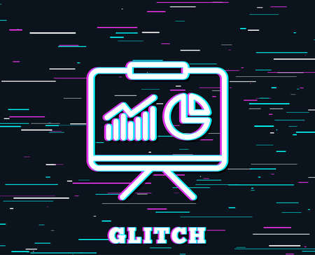 Glitch effect Presentation board line icon. Report chart or Sales growth sign.