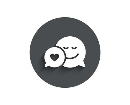 Comic speech bubble with Smile simple icon. Chat emotion with heart sign. Circle flat button with shadow.