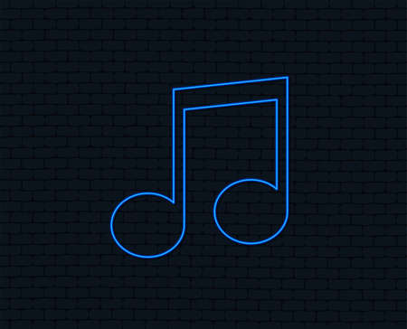 Neon light of Music note sign icon with  Glowing graphic design. Illustration