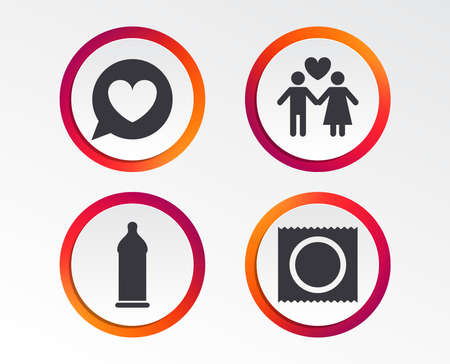 Lovers couple signs of Male love female Info graphic design buttons. Illustration