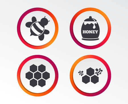 Honeycomb cells with bees symbol Info graphic design buttons. Ilustração