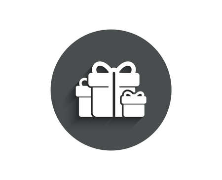 Gift boxes simple icon. Present or Sale sign. Birthday Shopping symbol. Package in Gift Wrap. Circle flat button with shadow. Illustration