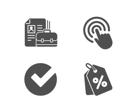 Set of Vacancy, Click and Verify icons. Discount tags sign.