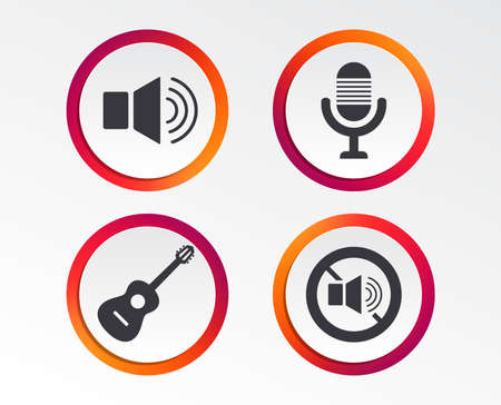 Musical elements icons on Microphone and Sound speaker symbols. Archivio Fotografico - 98348999