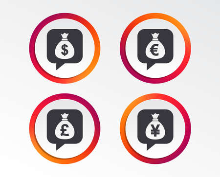 Money bag icons with Dollar, Euro, Pound and Yen speech bubbles symbols.
