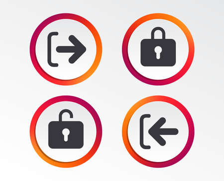 Login and Logout icons on Sign in or Sign out symbols. Lock icon Info graphic design buttons. Circle templates.
