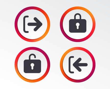 Aanmeld- en afmeldpictogrammen bij symbolen Aanmelden of Afmelden. Vergrendelpictogram Info grafische ontwerpknoppen. Cirkel sjablonen.