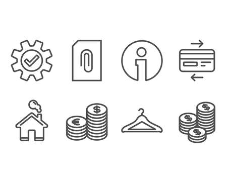 Set of Credit card, Service and Currency icons. Cloakroom, Attachment and Coins signs.
