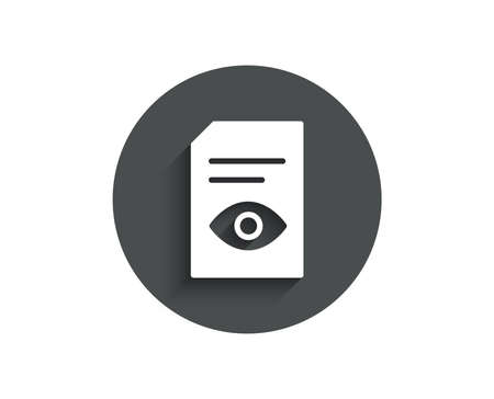 View Document simple icon. Open Information File sign of Paper page with Eye concept symbol.