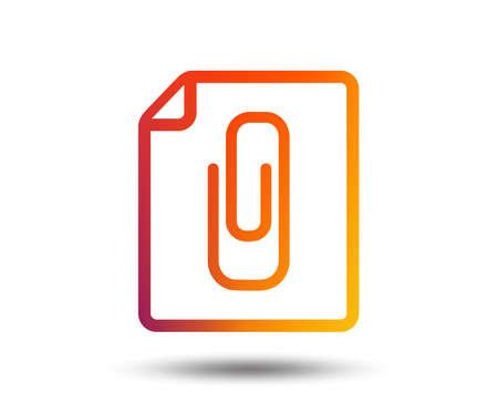 Dateianhang-Symbol. Büroklammer-Symbol. Symbol anhängen. Verschwommene Farbverlauf Gestaltungselement. Klare grafische flache Ikone. Vektor