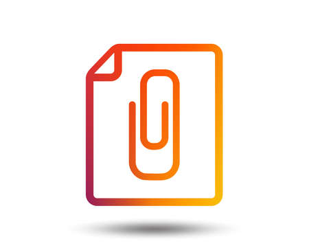 File annex icon. Paper clip symbol. Attach symbol. Blurred gradient design element. Vivid graphic flat icon. Vector 免版税图像 - 98278808