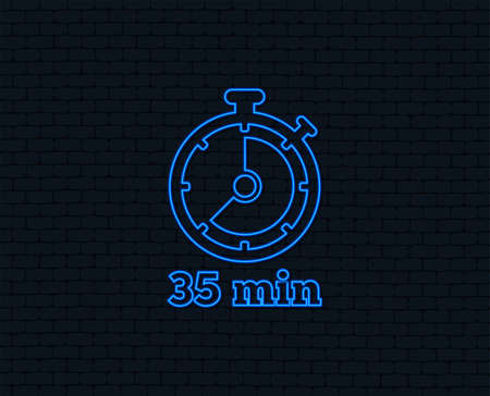 Neon light for Timer sign icon. Glowing graphic design.
