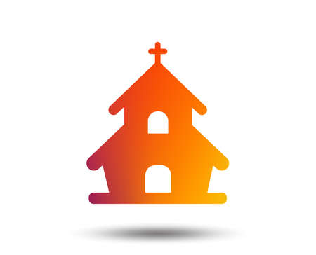 Church icon of Christian religion symbol. Chapel with cross on roof on Blurred gradient design element. Illustration