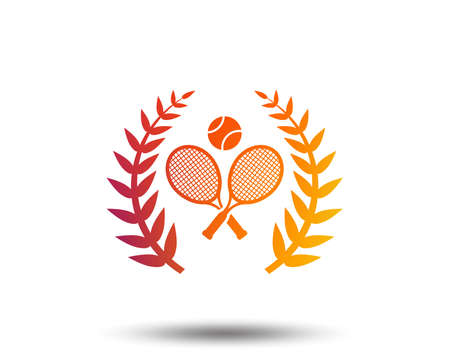 Tennis rackets with ball sign icon. Sport laurel wreath symbol on Blurred gradient design element.