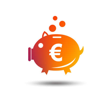 Piggy bank sign icon of Moneybox euro symbol on Blurred gradient design element.