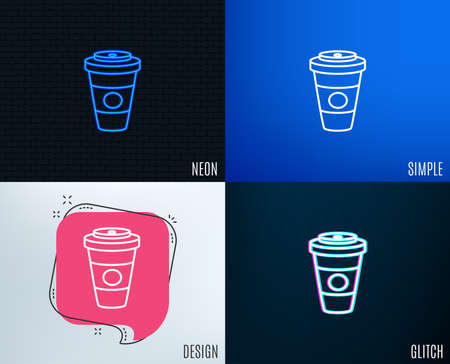 Takeaway Coffee or Tea line icon. Hot drink sign of Beverage symbol. 向量圖像