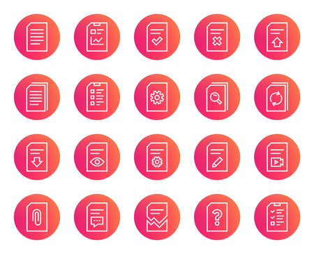 Document Management line icons. Set of Report, Checklist and Copy signs.