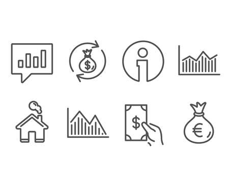 Set of Money diagram, Investment graph and Receive money icons. Illustration
