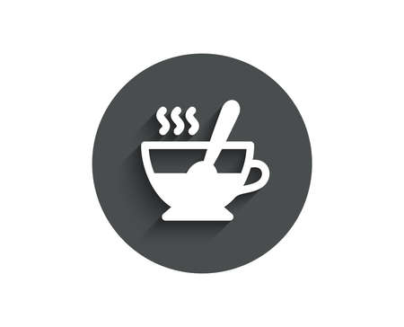 Cup with spoon simple icon. Fresh beverage sign. Latte or Coffee symbol. Circle flat button with shadow. Vector
