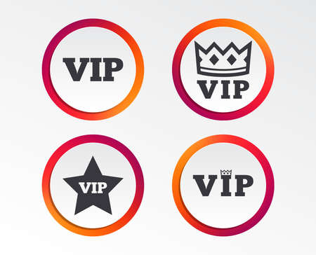 VIP icons. Very important person symbols. King crown and star signs. Infographic design buttons. Circle templates. Vector Çizim