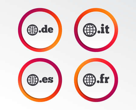 Top-level internet domain icons. De, It, Es and Fr symbols with globe. Unique national DNS names. Infographic design buttons. Circle templates. Vector