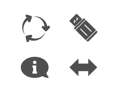 Set of Information, Usb flash and Recycling icons. Sync sign. Info center, Memory stick, Reduce waste. Synchronize.  Quality design elements. Classic style. Vector