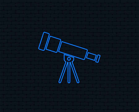 Telescope icon of Spyglass tool symbol Glowing graphic design. Illustration