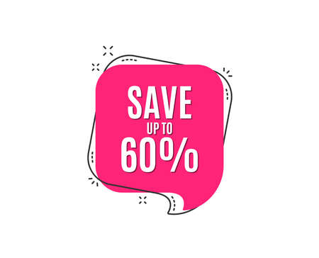 Save up to 60% Discount Sale offer price sign. Special offer symbol. Illustration