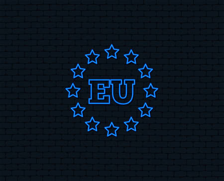 European union icon with EU stars symbol Glowing graphic design.