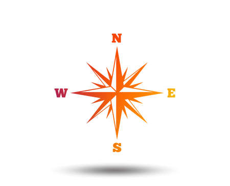 Compass sign icon of Wind rose navigation symbol. Stock Illustratie