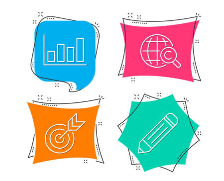Set of Target, Report diagram and International  copyright icons. Pencil sign. Targeting, Financial market, World copywriting. Edit data. Flat geometric colored tags. Vivid banners. Vector