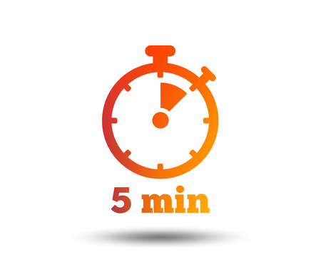 Timer sign icon of 5 minutes stopwatch symbol. Blurred gradient design element.