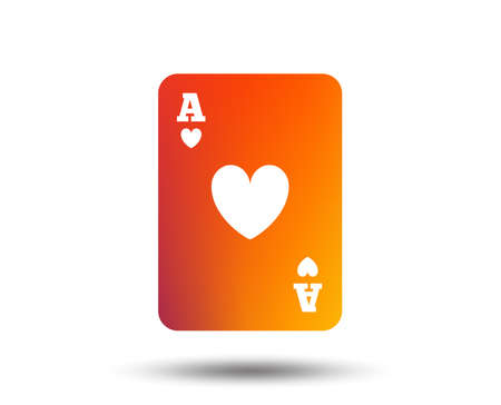Casino sign icon on Playing card symbol. Ace of hearts on Blurred gradient design element. Standard-Bild - 98351550