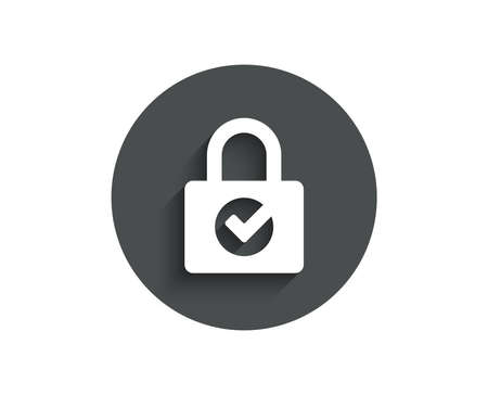 Lock with Check simple icon. Private locker sign on Password encryption symbol.