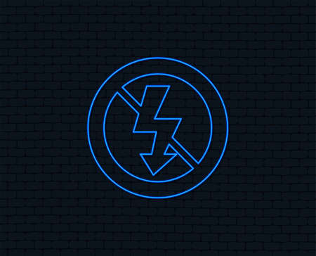 No Photo flash sign icon of Lightning symbol. Glowing graphic design.