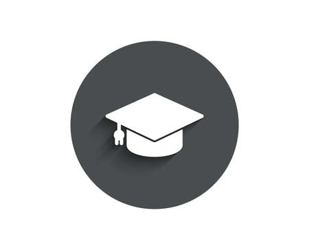 Graduation cap simple icon.  Circle flat button with shadow. Illustration