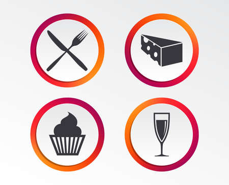 Muffin cupcake symbol with Fork and knife sign. Info graphic design buttons.