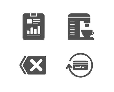Set of Remove, Coffee machine and Report document icons. Refund commission sign.