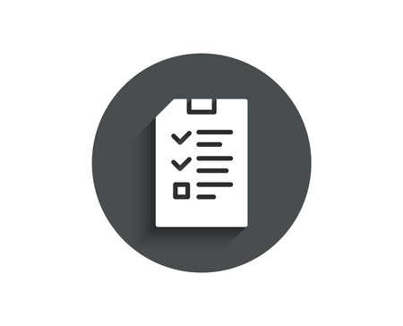 Checkliste Dokument einfaches Symbol. Informationsdatei Zeichen. Papierseite Konzept Symbol. Kreis flache Schaltfläche mit Schatten. Vektor Standard-Bild - 98278827