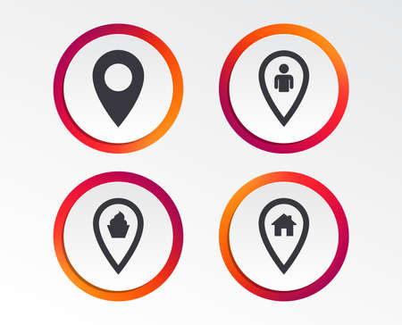 Map pointer icons of Home, food and user location symbols. 版權商用圖片 - 98352609