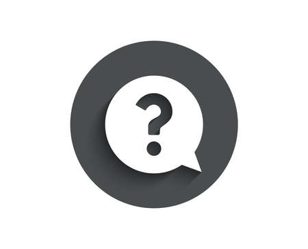 Question mark simple icon. Help speech bubble sign.