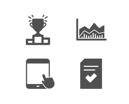 Set of Winner podium, Tablet PC and Trade info chart icons.
