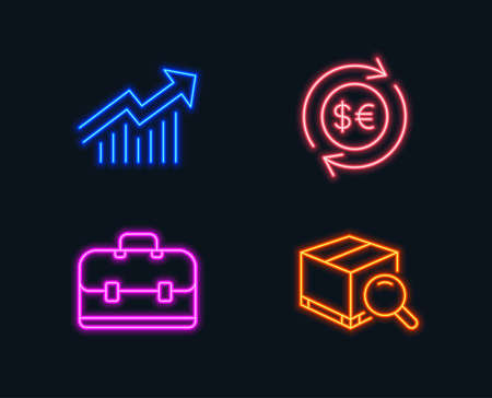 Set of Money currency, Portfolio and Demand curve icons.