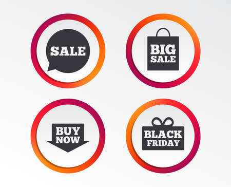 Sale speech bubble icons on Buy now arrow symbols.